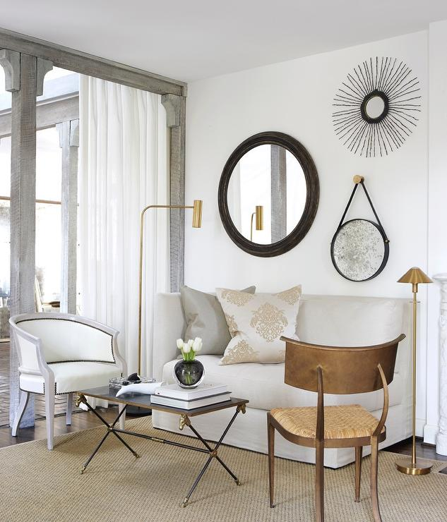 Terrific Mismatched Mirrors Over Sofa Transitional Living Room Ncnpc Chair Design For Home Ncnpcorg