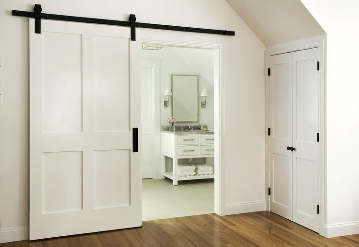 White Bathroom Door white barn door design ideas