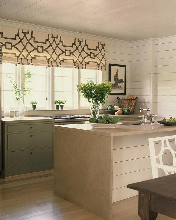 Cream And Green Kitchen Design Cottage Kitchen