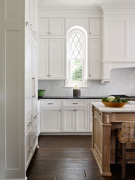 Calcutta Marble Herringbone Kitchen Backsplash