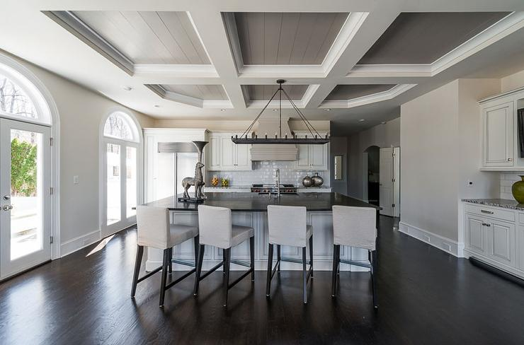 Kitchen Gray Coffered Ceiling Grey