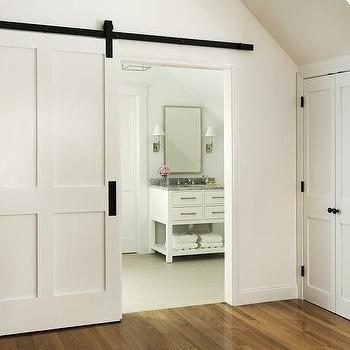 En Suite Bathroom With Barn Door On Rails