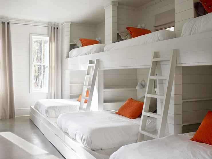 Built In Bunk Beds With Orange And Gray Pillows Country
