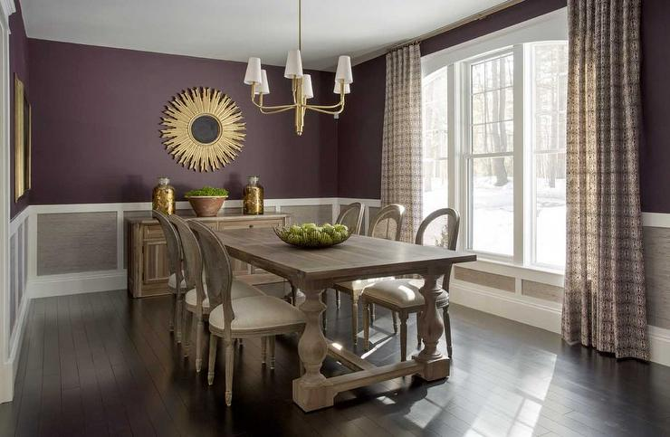 Purple and grey dining rooms transitional dining room for Dining room grey walls