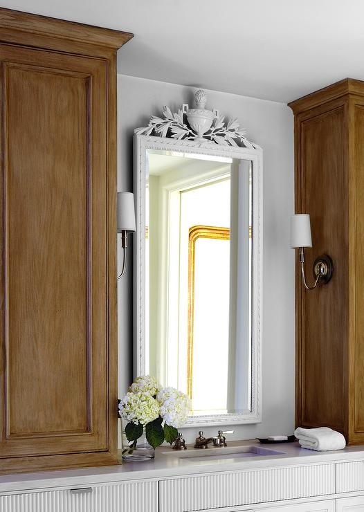 Gold Ornate Mirror Transitional Bathroom Anne Coyle Interiors