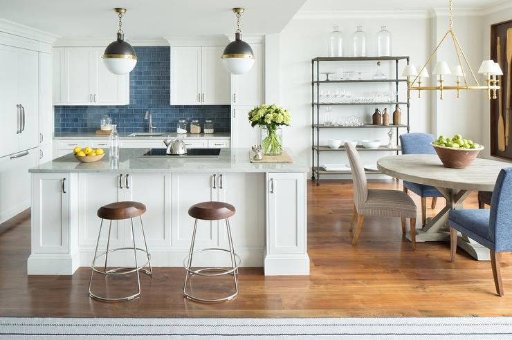White Kitchen with Blue Backsplash Transitional Kitchen