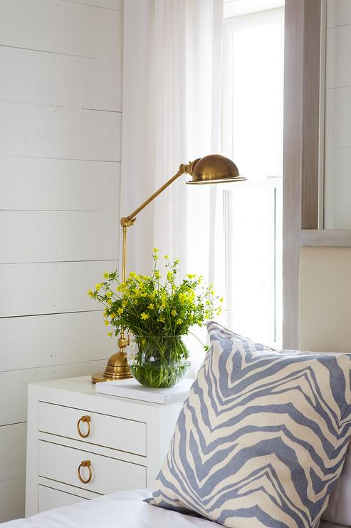 White Nightstand With Gold Ring Pulls And Antique Brass