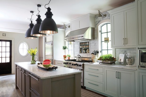 white kitchen with taupe island transitional kitchen. Black Bedroom Furniture Sets. Home Design Ideas