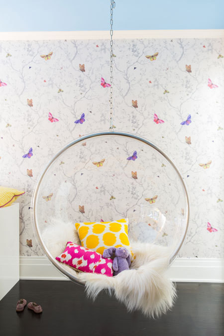 Girls bedroom with clear hanging bubble chair for Girls bedroom wallpaper ideas