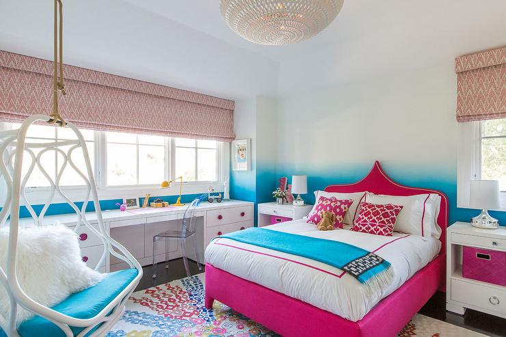 Hot Pink Moroccan Bed With Turquoise Throw Contemporary