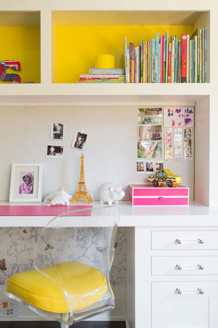 Built In Kids Desk with Overhead Shelves