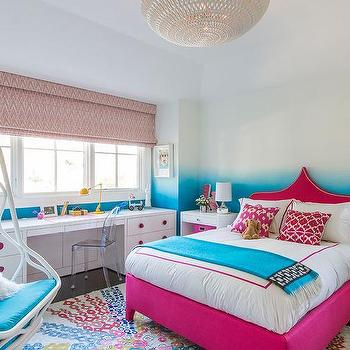Turquoise Ombre Walls Contemporary Girl 39 S Room