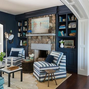 Elegant Navy Built In Cabinets And Shelves