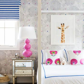 Bubble Gum Pink Kids Room With Acrylic Shelving Unit