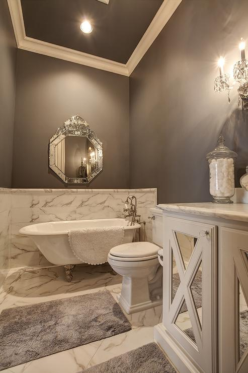 Master Bathroom With Marble Wainscoting Transitional