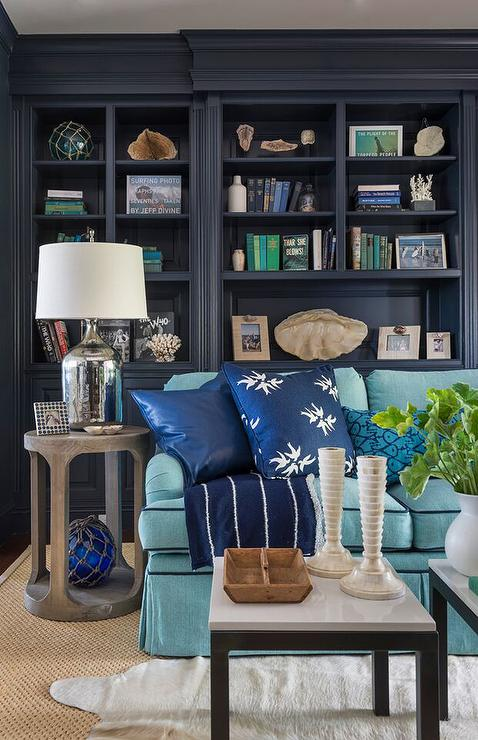 Navy Den Built In Shelves Cottage Den Library Office