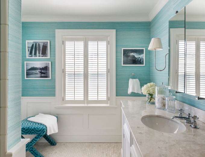 Coastal Bathroom Tile Ideas: Cottage Bathroom With Turquoise Grasscloth And Wainscoting