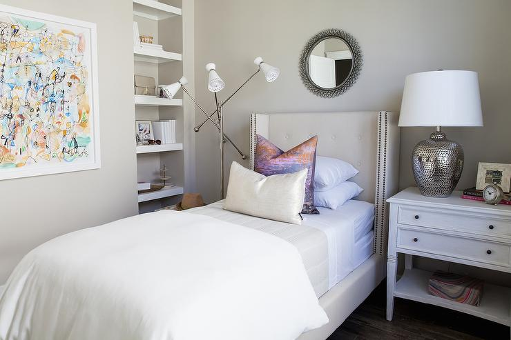 bedroom alcove with built in shelves - transitional - bedroom Night Stand with Built in Lamp