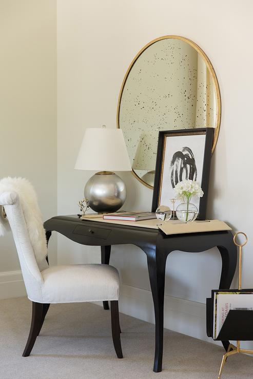 Black French Desk with Cabriole Legs with White Chair - Transitional ...