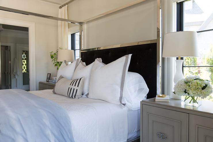 chrome canopy bed with black headboard - transitional - bedroom