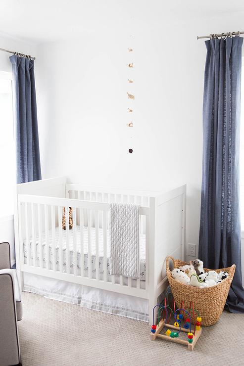 White And Blue Boy Nursery Ideas Transitional Nursery