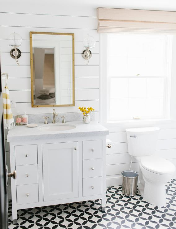 White And Yellow Bathroom Design Transitional Bathroom