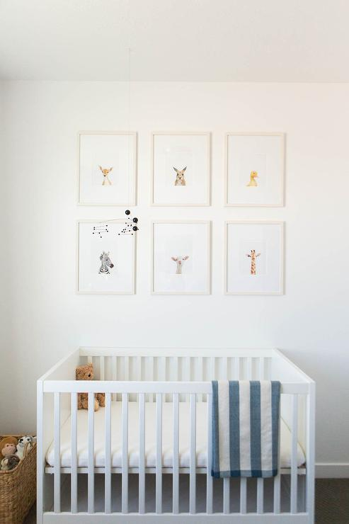 Gray Stain Crib With Baby Animal Art Prints Transitional