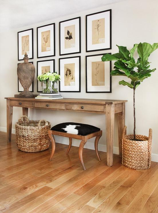 Farmhouse Console Table Under Botanical Art Gallery Cottage - Cottage style console table