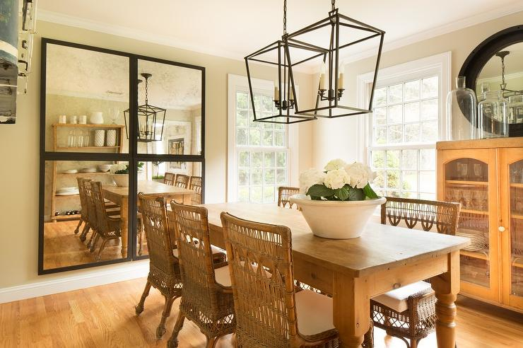 Farmhouse Dining Table with Wicker Chairs - Cottage - Dining ...