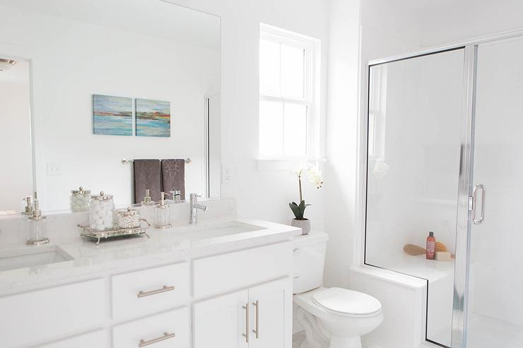 Chrome Walk In Shower with Bench - Transitional - Bathroom