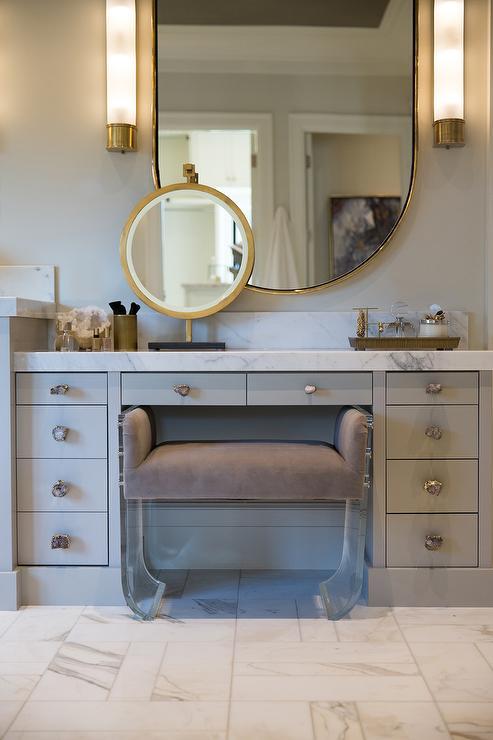 Gray Vanity With Quartz Knobs Hardware Contemporary