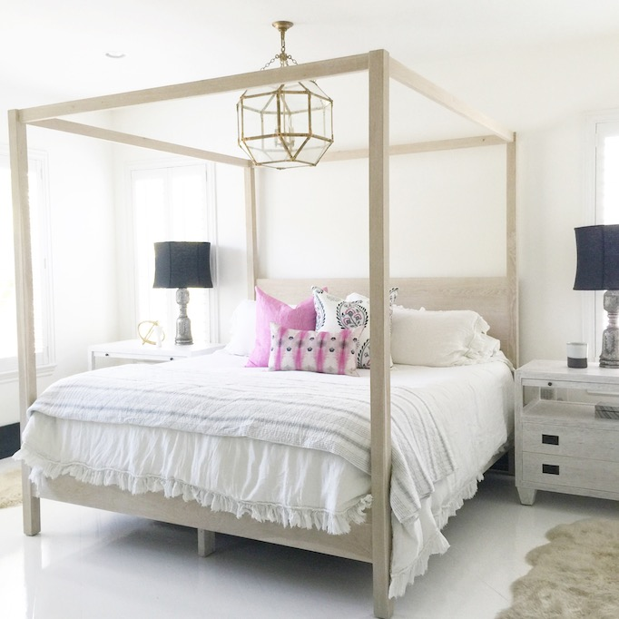 Gray Wash Canopy Bed With Gray Nightstands Transitional