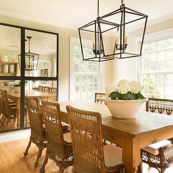 Farmhouse Dining Table With Wicker Chairs
