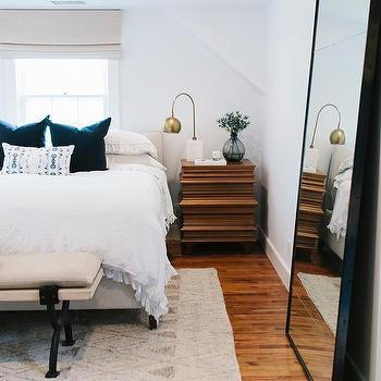 White Floating Wood Floor Mirror - Contemporary - Bedroom