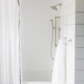 Shower With White Brick Tiles