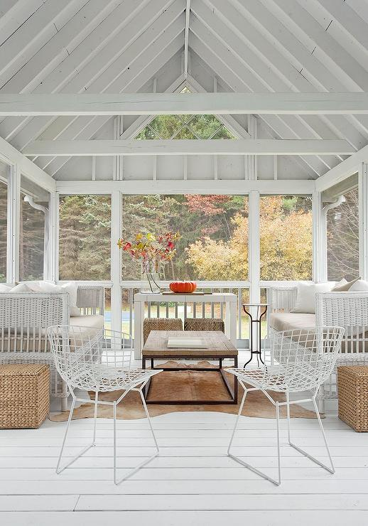 Sunroom With White Truss Ceiling Cottage Deck Patio