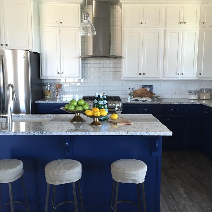White upper cabinets blue lower cabinets transitional for Blue and white kitchen cabinets