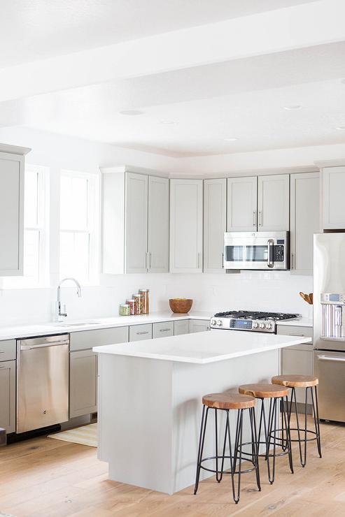 Light Grey Kitchen White Cabinets light grey shaker kitchen cabinets design ideas