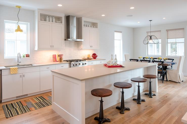 Charming White Flat Front Cabinets With Light Gray Quartz Countertops