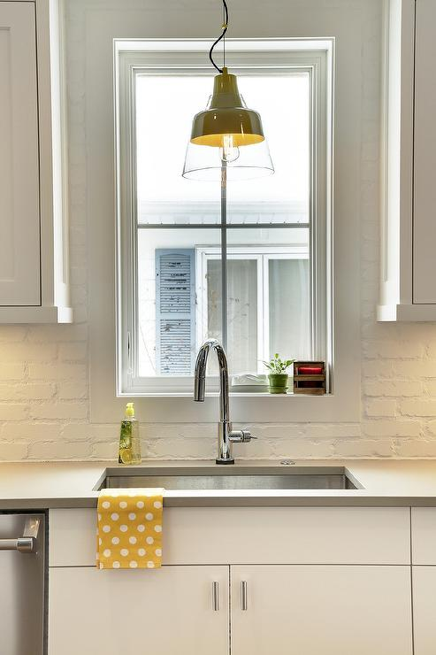 White Kitchen Yellow Backsplash yellow and gray kitchen - contemporary - kitchen - bella mancini