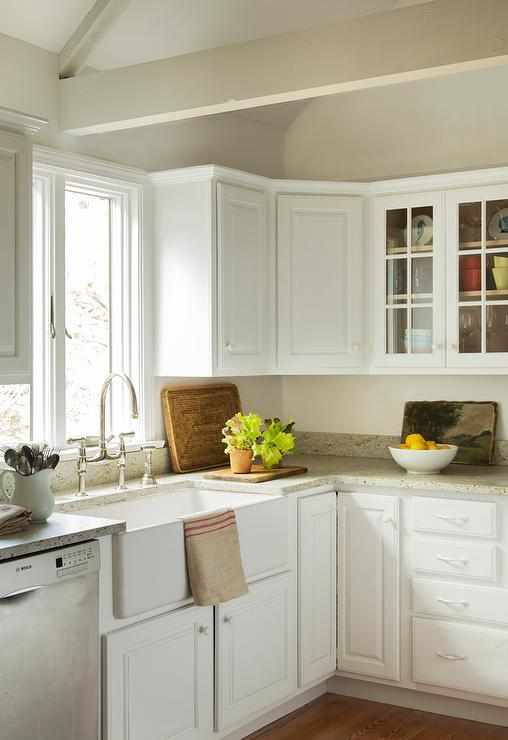 White Kitchen Cabinets with Grey Granite Countertops ...