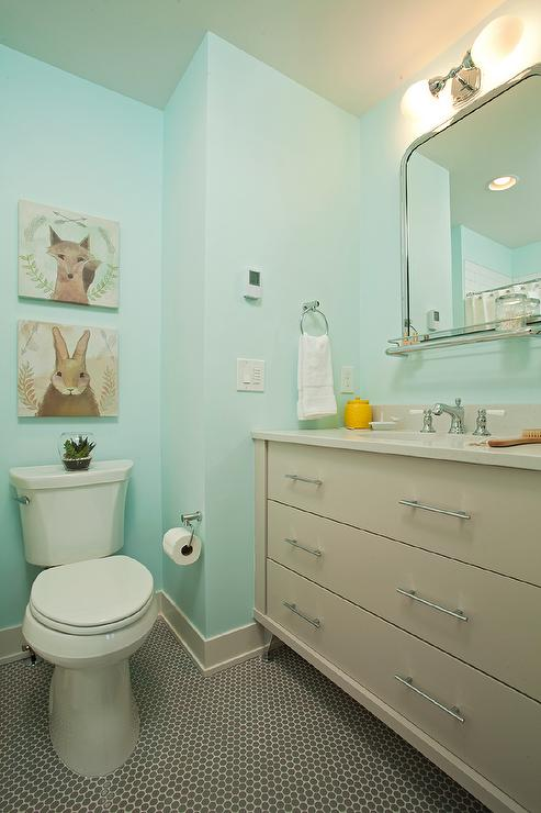 Turquoise Blue And Gray Kids Bathroom