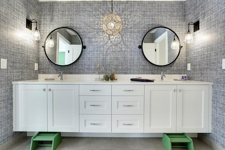 Good Blue And Green Kids Bathroom With Step Stools