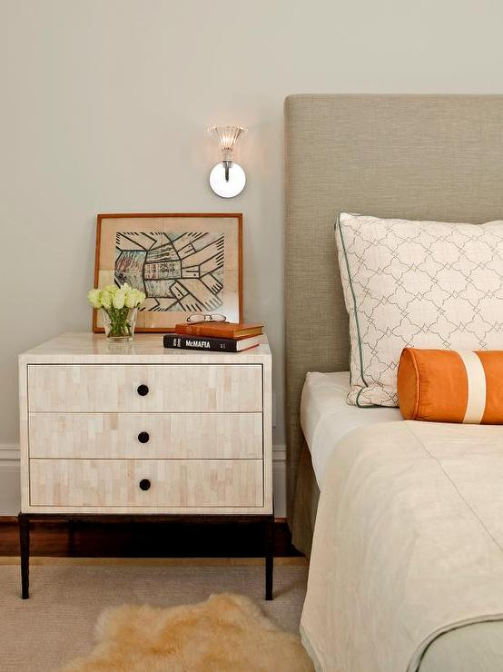 Grey Bedroom With Orange Accents Transitional Bedroom