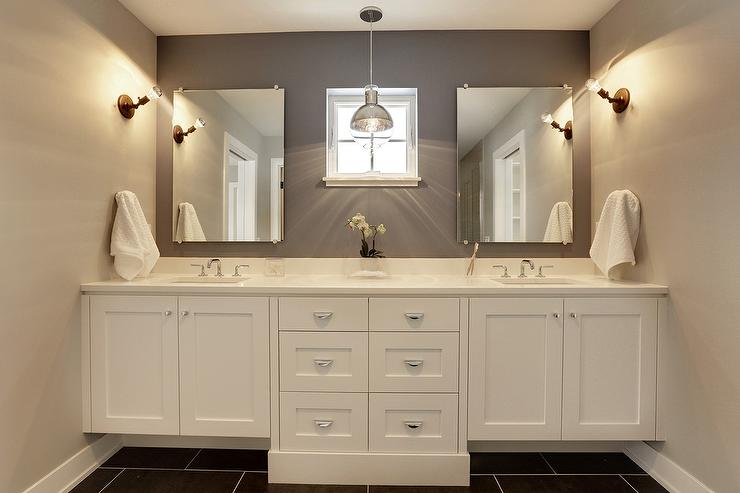 White and Grey Bathroom with Black Tiled Floor Contemporary Bathroom