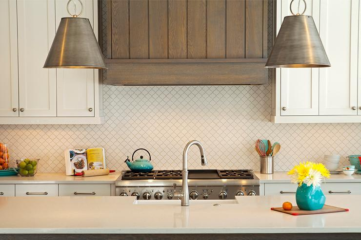 Kitchen With White Arabesque Backsplash Transitional