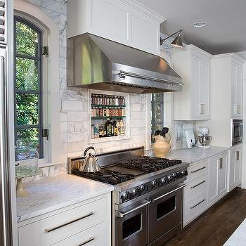 Kitchen Hood Between Windows Design Ideas