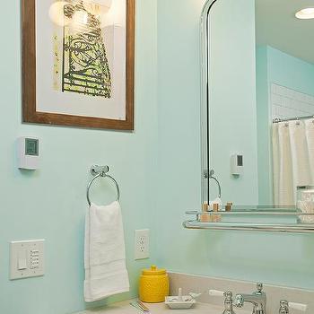 Gray And Turquoise Kids Bathroom