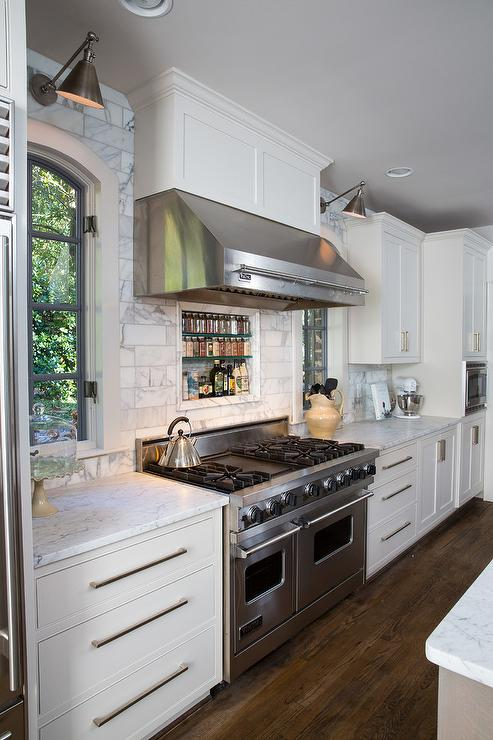 White Kitchen Exhaust Hoods kitchen hood flankedwindows design ideas