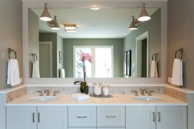 Sconces For Bathroom Mirror swing arm sconces on vanity mirror - transitional - bathroom
